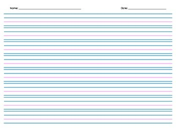 Handwriting Paper, with Header - 8 rows - Landscape