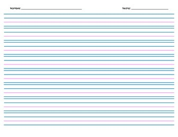 Handwriting Paper, with Spanish Header - 8 rows - Landscape