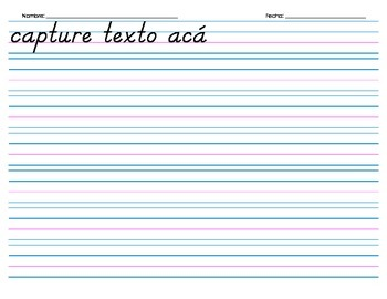 Handwriting Paper, with Spanish Header (Electronic Form) - 7 rows