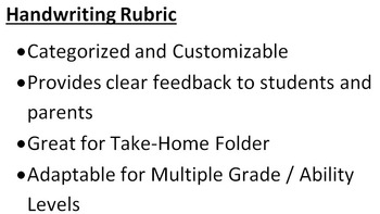 Handwriting / Penmanship Rubric -- Great for Take-Home Folder!