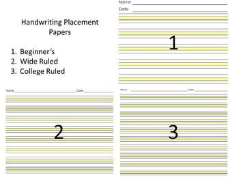 Handwriting Placement Papers (Highlight, Highlights, Highlighted) (OT)