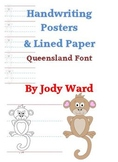 Handwriting Posters Head/Body/Tail Letters Qld Font
