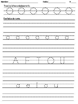Handwriting Practice - Spanish Vowels