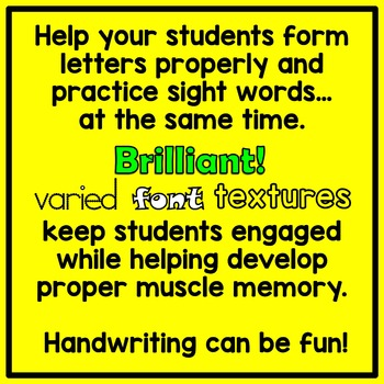 Dolch Pre-Primer Sight Word Trace and Write Handwriting Sheets