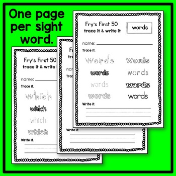 Fry's 1st 50 Sight Word Trace and Write Handwriting Sheets