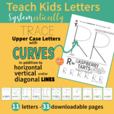 Handwriting Practice - Alphabet Upper Case ABC Letters with CURVES Only