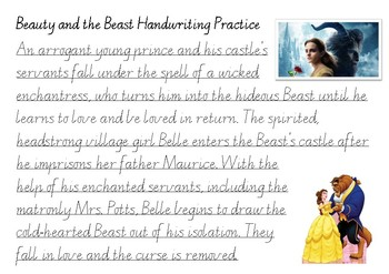 Handwriting Practice - Beauty and the Beast (Victorian Cursive)