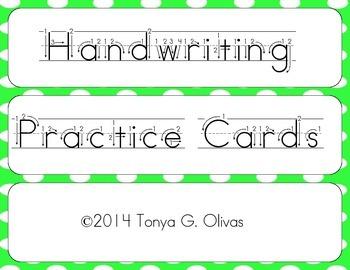 Handwriting Practice Cards