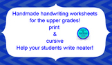 Handwriting for Middle & HS- College Ruled- 2 Print- 2 Cursive