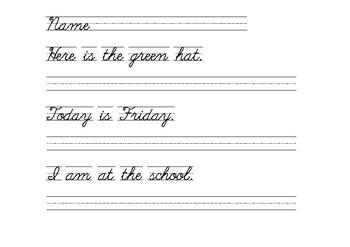 Handwriting Practice Cursive (Script)  Sentences with Sight Words