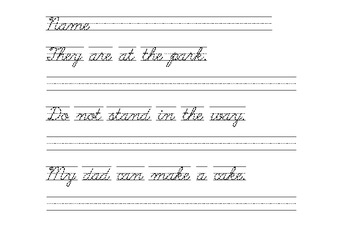 handwriting practice cursive script sentences with sight words. Black Bedroom Furniture Sets. Home Design Ideas