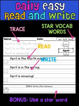Handwriting Practice - Daily Easy Read and Write Sentences - April