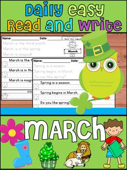 Handwriting Practice - Daily Easy Read and Write Sentences - March
