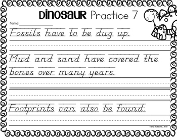 Handwriting Practice- Dinosaur Themed