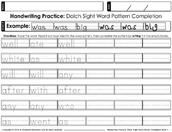Handwriting Practice Dolch Sight Words Pattern Completion Daily Practice Level B