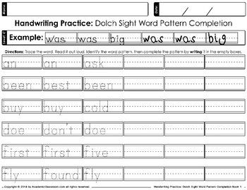 Handwriting Practice Dolch Sight Words Pattern Completion Daily Practice Level C