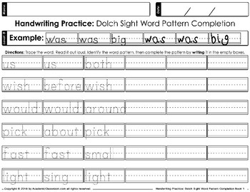 Handwriting Practice Dolch Sight Words Pattern Completion Daily Practice Level D
