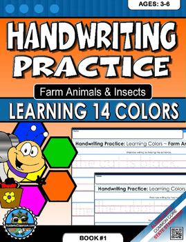 Handwriting Practice Learning Colors, Farm Animals And Insects