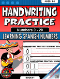 Handwriting Practice Learning Spanish Numbers, 0 -20