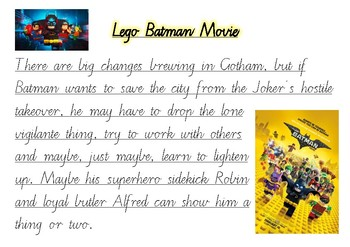 Handwriting Practice - Lego Batman Movie (Victorian Cursive)