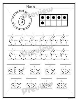 Handwriting Practice | Numbers | 0 - 10 | No Prep