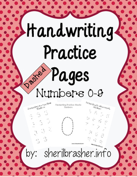 Handwriting Practice Pages - Dashed Numbers 0-9