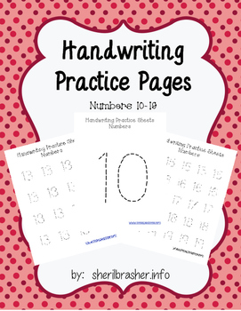 Handwriting Practice Pages - Dashed Numbers 10-19