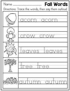 Handwriting Practice Pages Kindergarten - Fall Themed No Prep Printables
