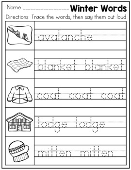 Handwriting Practice Pages Kindergarten - Winter Themed No Prep Printables