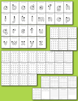 Handwriting Practice Pages - Outline Lowercase DELUXE Pack