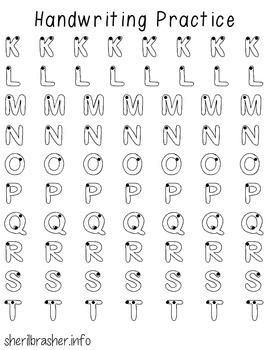 Handwriting Practice Pages - Outline Uppercase