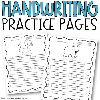 Handwriting Practice Pages (Animal Alphabet)