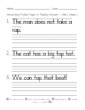 handwriting practice pages for 1st grade reading wonders spelling words unit 1 3. Black Bedroom Furniture Sets. Home Design Ideas