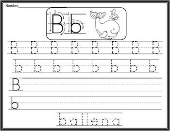 Spanish  Alphabet Handwriting Practice Pages
