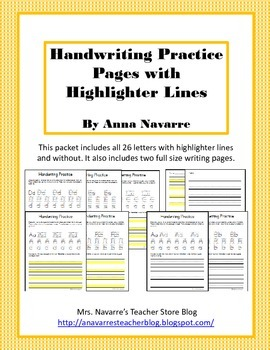 Handwriting Practice Pages with Highlighter Lines