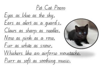 Handwriting Practice - Pet Cat Poem (Victorian Cursive)