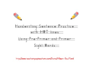 handwriting practice sentences with sight words hwt printing tpt