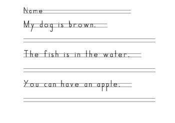 Handwriting Practice- Sentences with Sight Words (HWT Printing)
