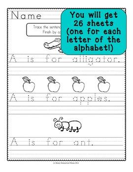Handwriting Practice Sheets - Alphabet Sentences for Beginning Writers