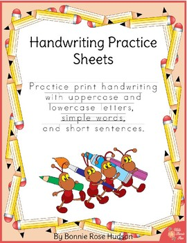 Handwriting Practice Sheets: Print by WriteBonnieRose | TpT
