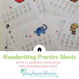 Handwriting Practice Sheets - Queensland Beginners Font