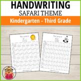 Handwriting Practice Sheets - Safari Themed