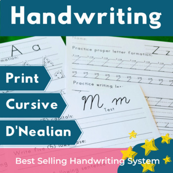 Handwriting Practice Sheets and Tests Print, Cursive, and D'Nealian Bundle