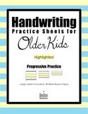 Handwriting Practice Sheets for Older Kids / Progressive Practice 3 Line Heights