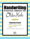 Handwriting Practice Sheets for Older Kids / Progressive Practice 3 Line Heights