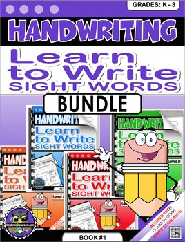 Handwriting Practice Sight Words Book1-  220 Pages Levels A-D Bundle