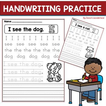 handwriting practice for kindergarten or struggling writers tpt. Black Bedroom Furniture Sets. Home Design Ideas