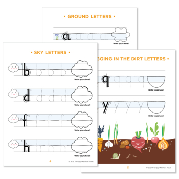 Handwriting Practice: Sky, Ground, and Digging in the Dirt Letters!