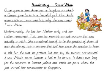 handwriting practice snow white victorian cursive by mrs connick. Black Bedroom Furniture Sets. Home Design Ideas