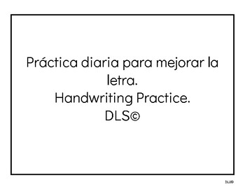 Handwriting Practice - Spanish - Writing daily sentences